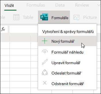 Možnost vložení nového formuláře v Excelu Online