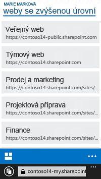 Propagované weby SharePointu Online na mobilním zařízení