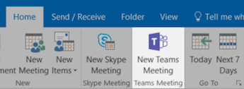 Tlačítko Nová schůzka Teams v Outlooku