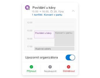Pozvánka na schůzku s minikalendářem v horní části, část pro komentář uprostřed a tlačítka pro odpovědi v dolní části