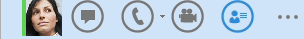 Panel QuickLync se zvýrazněnou ikonou Zobrazit kartu kontaktu