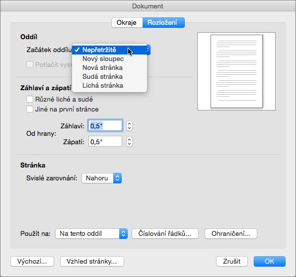 Dialogové okno Dokument obsahuje nastavení pro správu oddílů, záhlaví a zápatí.
