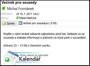 Ukázka zprávy s přílohou iCalendar a tlačítko