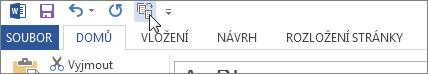Tlačítko Zkrátit o jednu stránku na panelu nástrojů Rychlý přístup