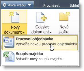 V nabídce Nový pro seznam nebo knihovnu se zobrazí typy obsahu.