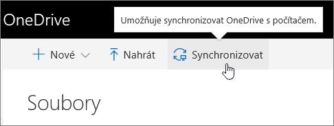OneDrive pro firmy – zvýrazněné tlačítko Synchronizovat