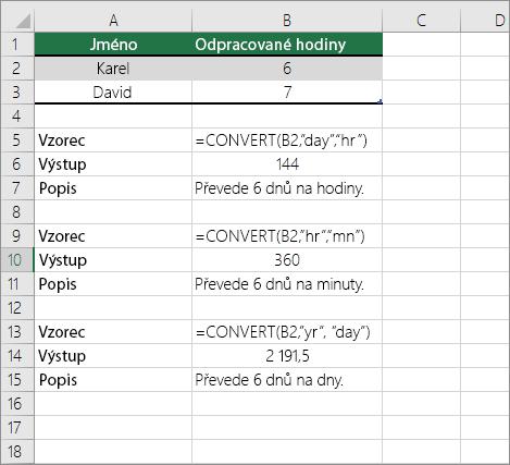 Příklad: Převod mezi časovými jednotkami