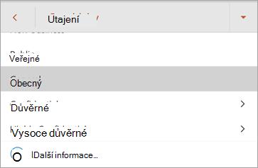 Snímek obrazovky popisků citlivosti v Office pro Android