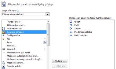 Dialogové okno pro přizpůsobení panelu nástrojů Rychlý přístup přidáním dalších příkazů