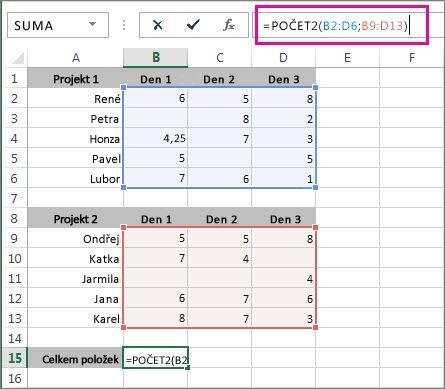 Počítání 2 oblastí buněk pomocí funkce POČET2