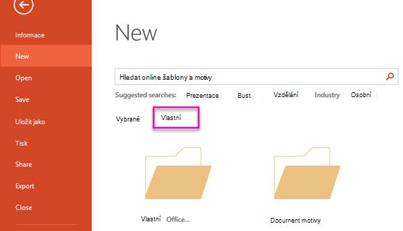 Na stránce nový soubor vyberte položku vlastní získat přístup na šablonu, kterou jste vytvořili.