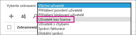 Zobrazení seznamu uživatelů bez licence