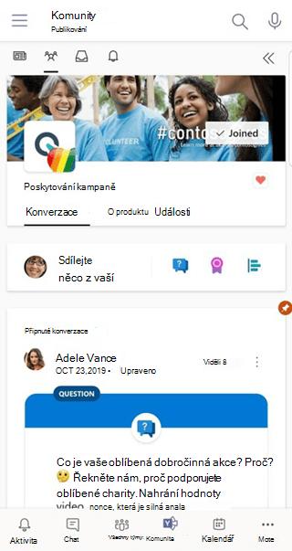 Použití aplikace Konverzace pro Teams na Yammer mobilu