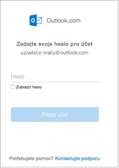 Zadání hesla k účtu outlook.com