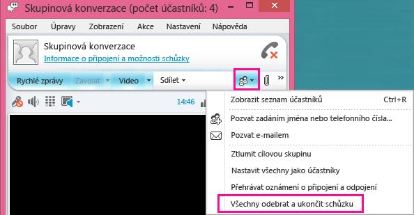 Snímek obrazovky s tlačítkem Ukončit schůzku