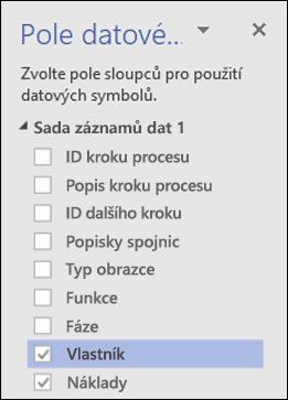 Nastavení datových symbolů pro diagram Vizualizéru dat ve Visiu pomocí podokna Datové symboly