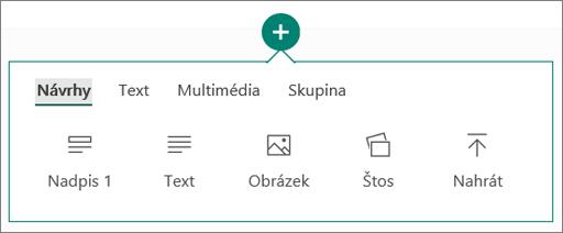 Snímek obrazovky s možností Vložit obsah