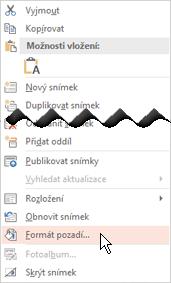 Kliknutí pravým tlačítkem myši na miniaturu snímku a přidání obrázku jako pozadí na snímek