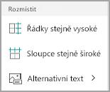 Windows Mobile distribuce tabulky sloupců a řádků