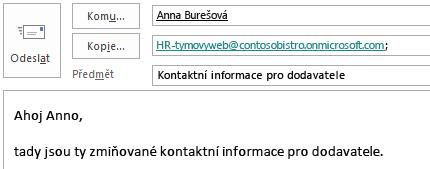 E-mailová zpráva s poštovní schránkou webu v poli Kopie
