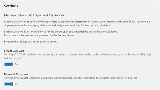 Snímek obrazovky z nastavení ve škole dat synchronizaci, synchronizovat Data školy zapnout nebo vypnout.