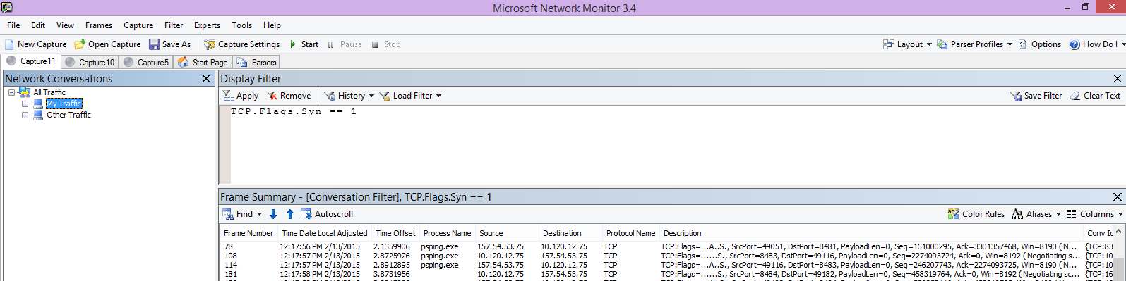 Sledování programu Netmon z klienta se zobrazeným stejným příkazem PSPing s filtrem TCP.Flags.Syn == 1