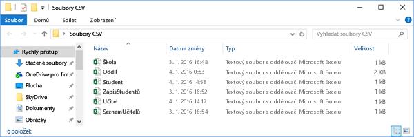 Všechny soubory CSV musí být obsažen ve stejném adresáři