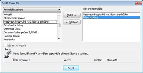 Dialogové okno Zvolit formulář