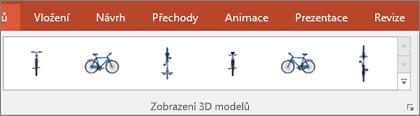 Galerie Zobrazení 3D modelů nabízí některé užitečné předvolby pro uspořádání zobrazení vašeho 3D obrázku.