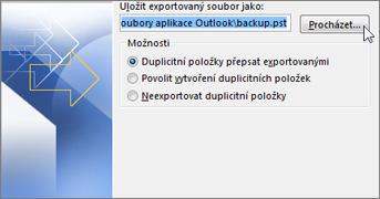 Umístění souboru PST