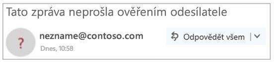 Neověřený odesílatele v aplikaci Outlook