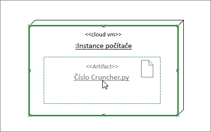 Obrazec artefaktu přetažený přes obrazec instance uzlu, zelené zvýraznění