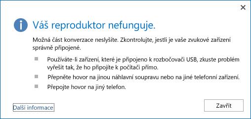 Snímek obrazovky s chybou zvuku a možnostmi řešení