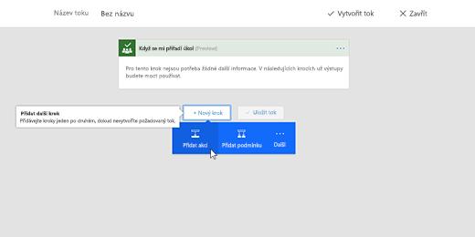 Snímek obrazovky s vybranou možností Přidat akci