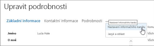 Myši ukazatele myši na tři tečky na stránce Upravit podrobnosti Upravit můj profil