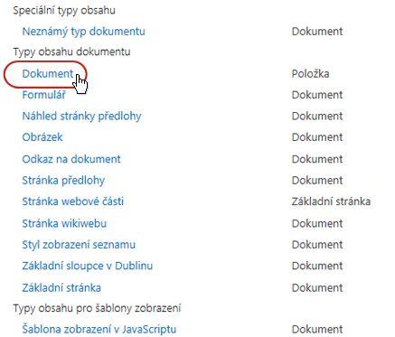 Typy obsahu dokumentu s vyznačeným typem