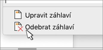 Tlačítko Odebrat záhlaví