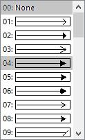 V nabídce stylů šipky vyberte některý styl šipky nebo Žádný.