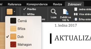 Režim čtení na celé obrazovce v Office pro Mac