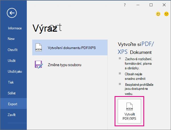 Tlačítko Vytvořit soubor PDF/XPS na kartě Exportovat ve Wordu 2016