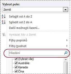 Vyhledávací pole v seznamu filtrů