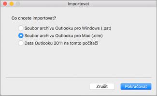 Import souboru archivu ve formátu .olm