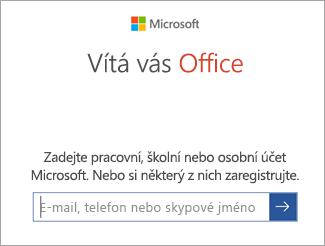 Zadejte svůj účet Microsoft nebo účet Office 365