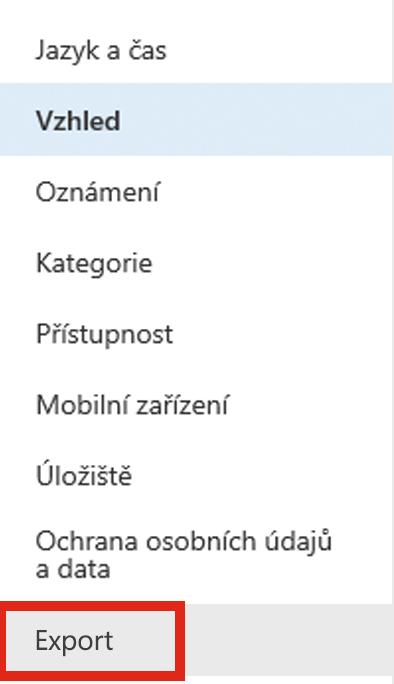 Snímek obrazovky s možností Export