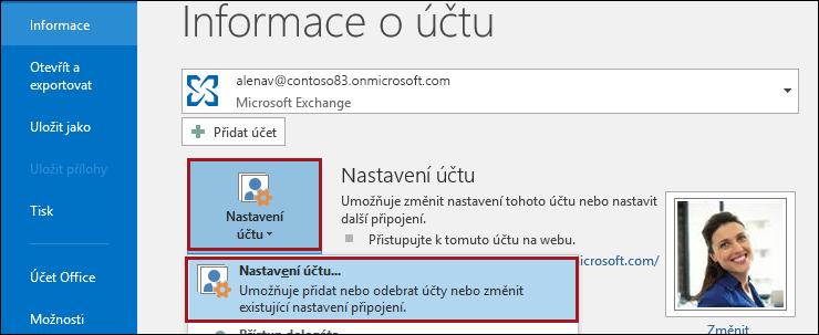 Nastavení účtu v Outlooku