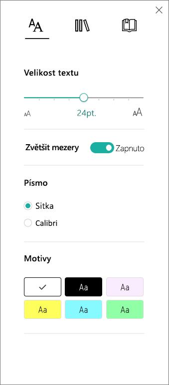 Nabídka možností textu v Asistivní čtečce, která je součástí doplňku Výukové nástroje pro OneNote