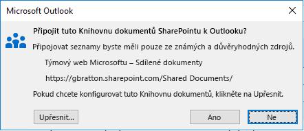 Připojit ke Knihovně dokumentů SharePointu