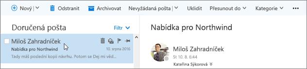 Snímek obrazovky s řádkem nabídek.