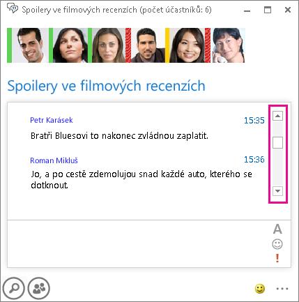 Snímek obrazovky chatovací místnosti, vpravo se zvýrazněným posuvníkem pro procházení historie