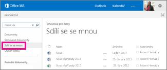 OneDrive pro firmy, odkaz Sdílené se mnou